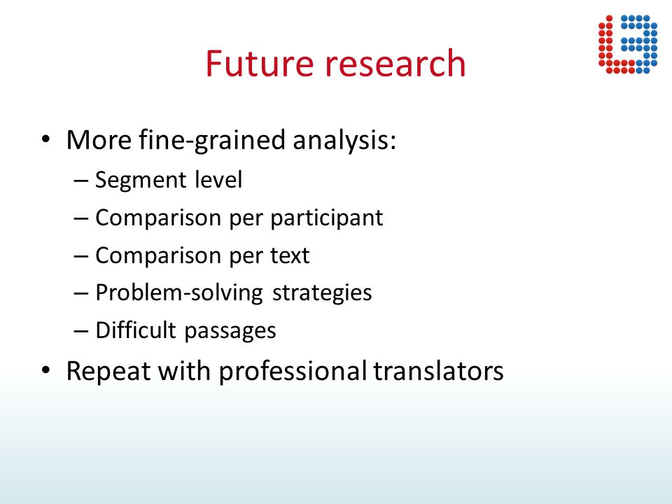 Future research More fine-grained analysis: – Segment level – Comparison per participant – Comparison per text – Problem-solving strategies – Difficult passages Repeat with professional translators