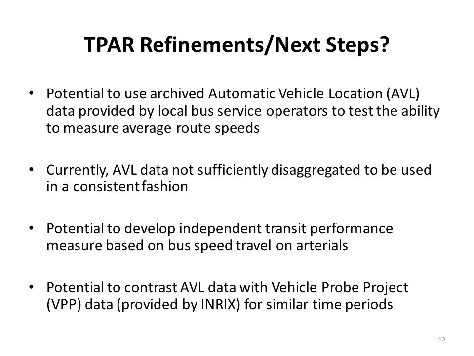 TPAR Refinements/Next Steps.