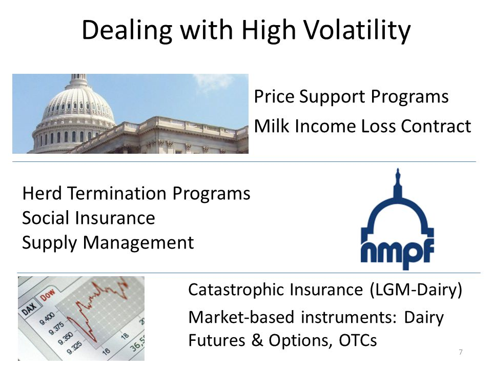 Dealing with High Volatility Price Support Programs Milk Income Loss Contract 7 Catastrophic Insurance (LGM-Dairy) Market-based instruments: Dairy Futures & Options, OTCs Herd Termination Programs Social Insurance Supply Management