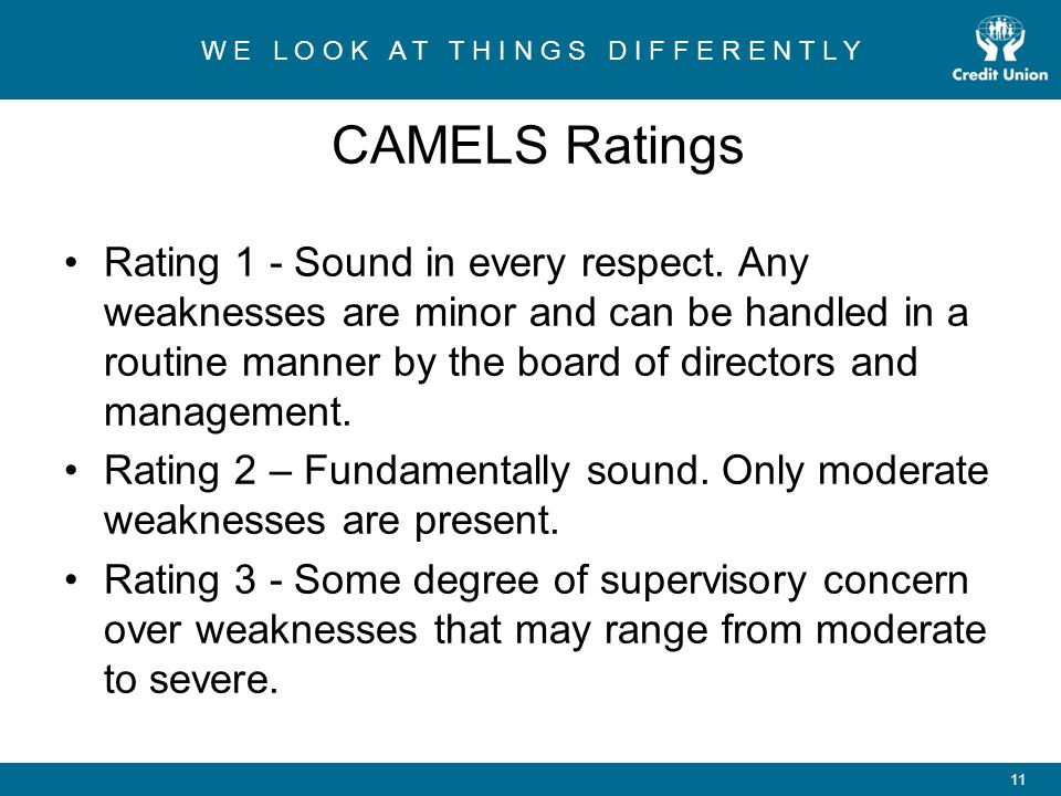 W E L O O K A T T H I N G S D I F F E R E N T L Y 11 CAMELS Ratings Rating 1 - Sound in every respect.