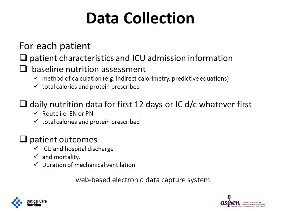 Data Collection For each patient  patient characteristics and ICU admission information  baseline nutrition assessment method of calculation (e.g.