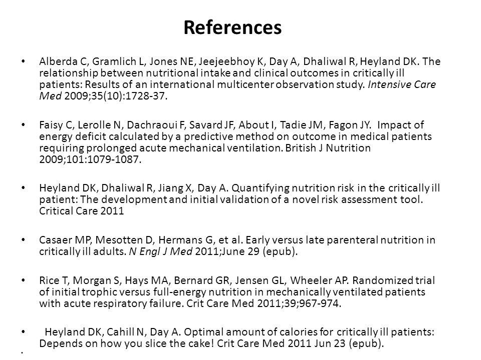 References Alberda C, Gramlich L, Jones NE, Jeejeebhoy K, Day A, Dhaliwal R, Heyland DK.