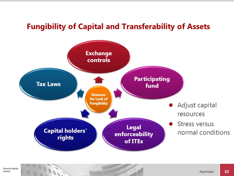 Restricted 22 Fungibility of Capital and Transferability of Assets Adjust capital resources Stress versus normal conditions Reasons for Lack of Fungib