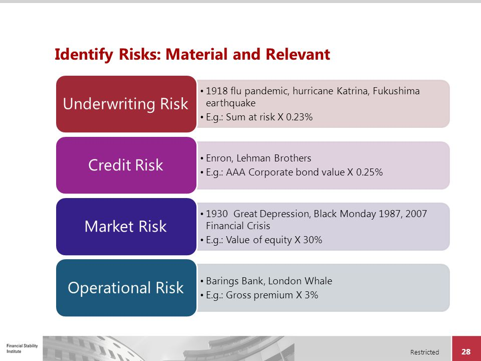 Restricted 28 Identify Risks: Material and Relevant 1918 flu pandemic, hurricane Katrina, Fukushima earthquake E.g.: Sum at risk X 0.23% Underwriting
