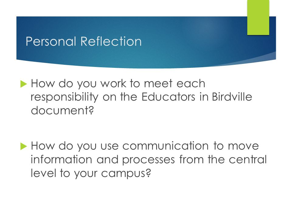 Personal Reflection  How do you work to meet each responsibility on the Educators in Birdville document?  How do you use communication to move infor