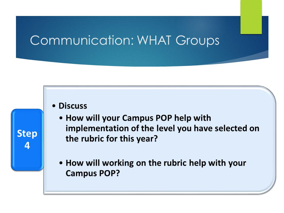 Communication: WHAT Groups Discuss How will your Campus POP help with implementation of the level you have selected on the rubric for this year? How w