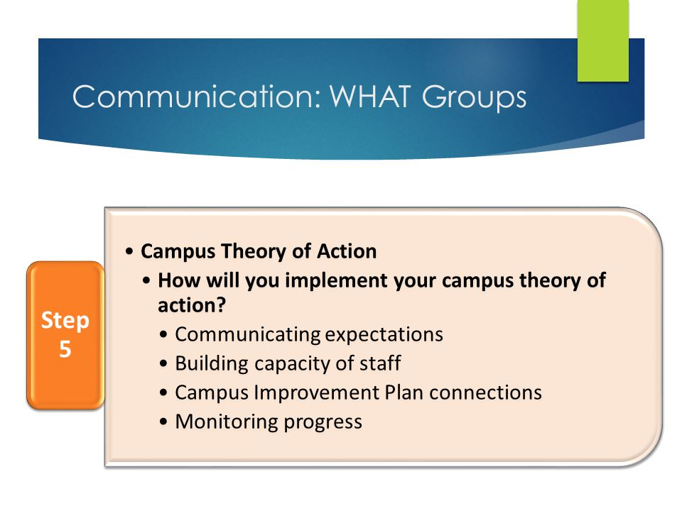 Communication: WHAT Groups Campus Theory of Action How will you implement your campus theory of action.