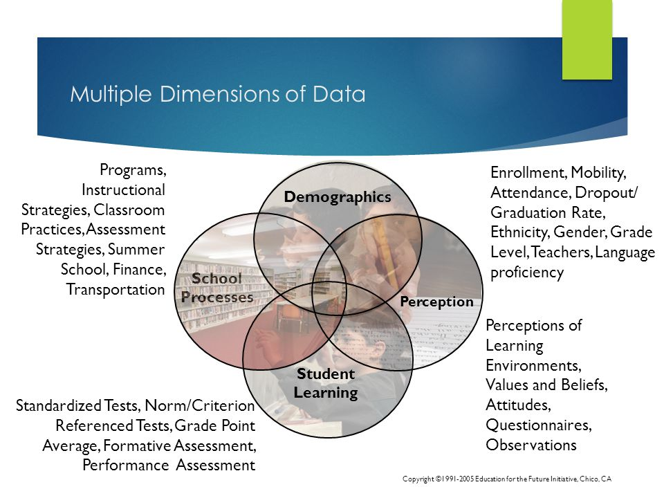 Multiple Dimensions of Data Demographics Perception Student Learning School Processes Enrollment, Mobility, Attendance, Dropout/ Graduation Rate, Ethnicity, Gender, Grade Level, Teachers, Language proficiency Standardized Tests, Norm/Criterion Referenced Tests, Grade Point Average, Formative Assessment, Performance Assessment Perceptions of Learning Environments, Values and Beliefs, Attitudes, Questionnaires, Observations Programs, Instructional Strategies, Classroom Practices, Assessment Strategies, Summer School, Finance, Transportation Copyright ©1991-2005 Education for the Future Initiative, Chico, CA
