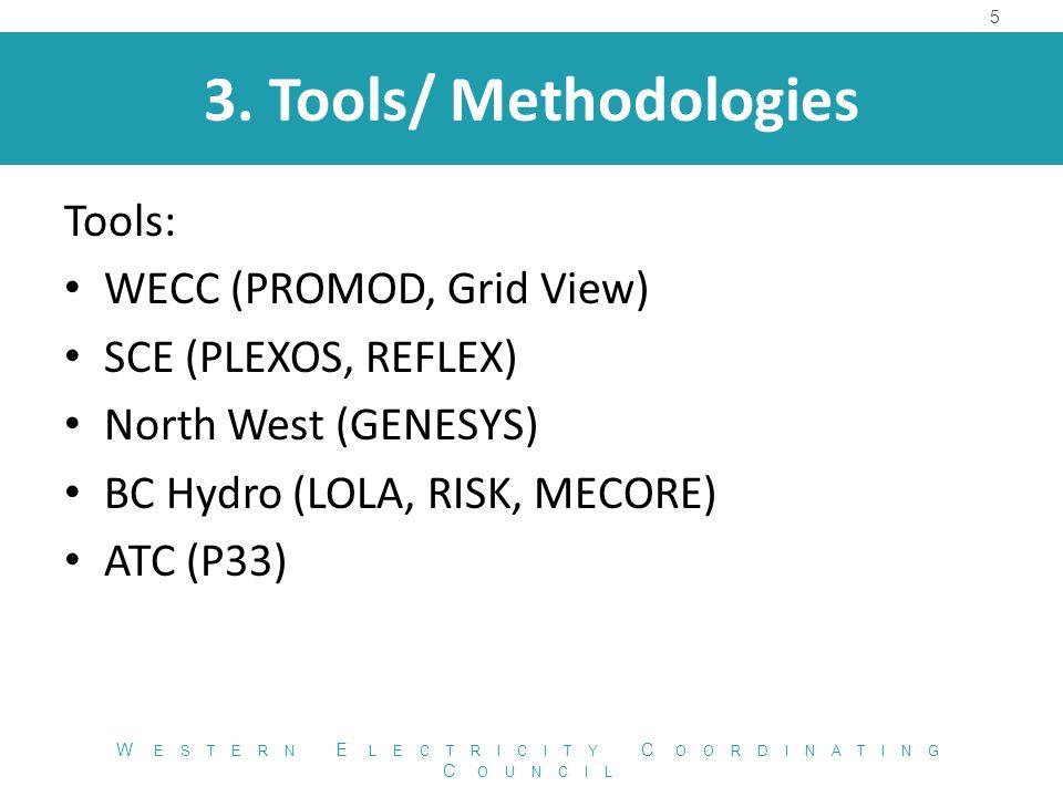 3. Tools/ Methodologies Tools: WECC (PROMOD, Grid View) SCE (PLEXOS, REFLEX) North West (GENESYS) BC Hydro (LOLA, RISK, MECORE) ATC (P33) 5 W ESTERN E