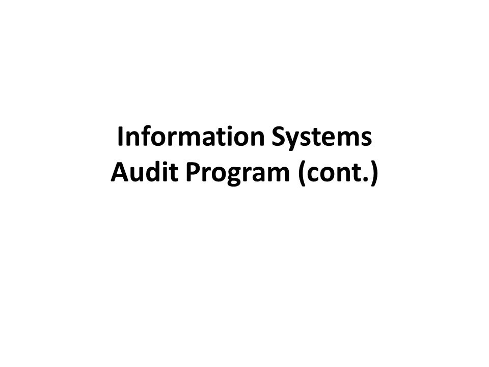 Information Systems Audit Program (cont.)