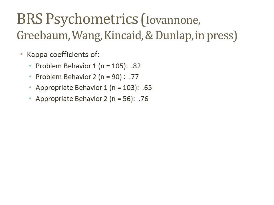 BRS Psychometrics ( Iovannone, Greebaum, Wang, Kincaid, & Dunlap, in press) Kappa coefficients of: Problem Behavior 1 (n = 105):.82 Problem Behavior 2