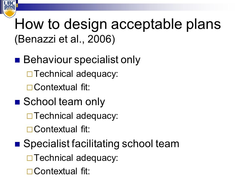 How to design acceptable plans (Benazzi et al., 2006) Behaviour specialist only  Technical adequacy: High  Contextual fit: Low School team only  Te