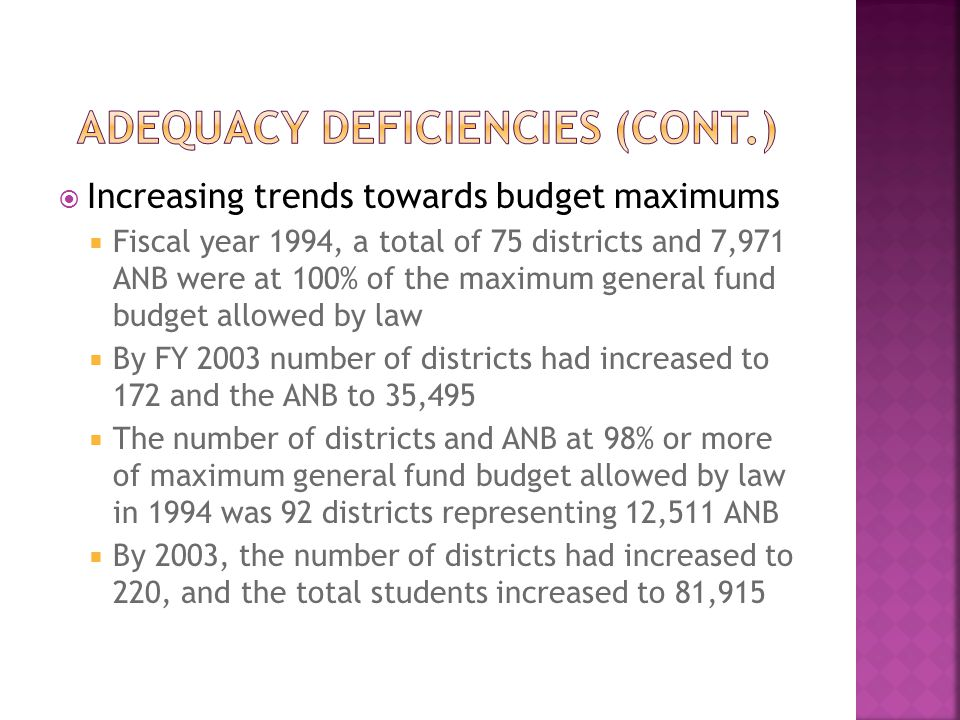  Increasing trends towards budget maximums  Fiscal year 1994, a total of 75 districts and 7,971 ANB were at 100% of the maximum general fund budget allowed by law  By FY 2003 number of districts had increased to 172 and the ANB to 35,495  The number of districts and ANB at 98% or more of maximum general fund budget allowed by law in 1994 was 92 districts representing 12,511 ANB  By 2003, the number of districts had increased to 220, and the total students increased to 81,915