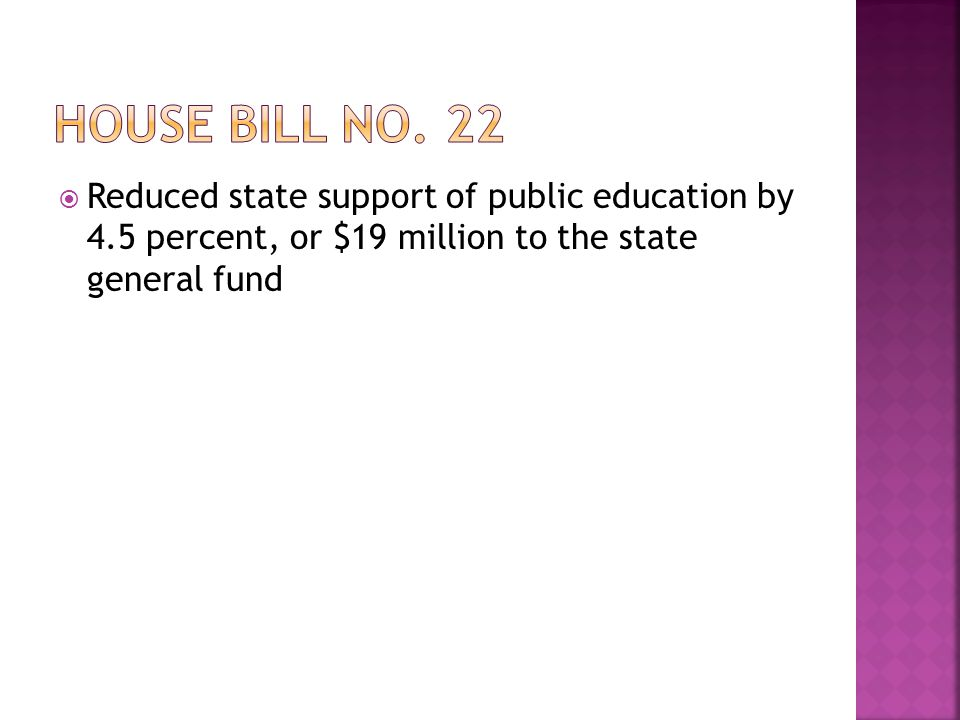  Reduced state support of public education by 4.5 percent, or $19 million to the state general fund