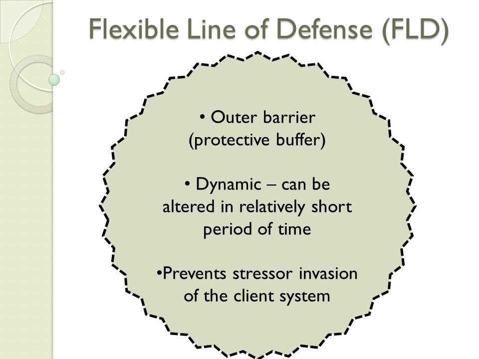 Flexible Line of Defense (FLD) Outer barrier (protective buffer) Dynamic – can be altered in relatively short period of time Prevents stressor invasion of the client system