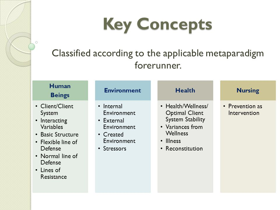 Key Concepts Classified according to the applicable metaparadigm forerunner.