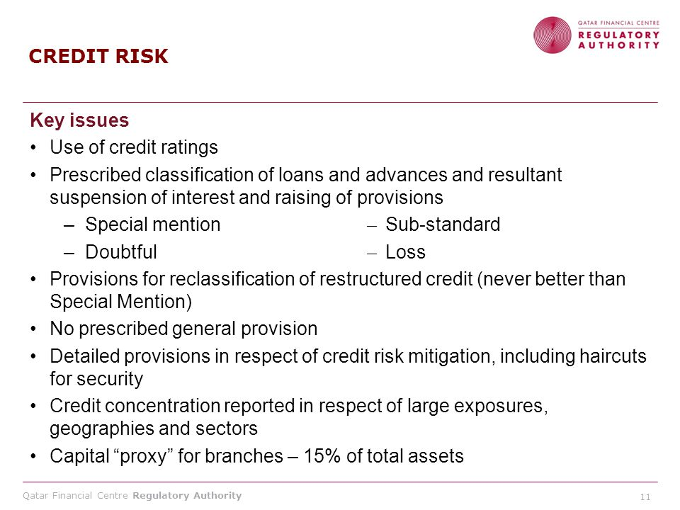 Qatar Financial Centre Regulatory Authority Key issues Use of credit ratings Prescribed classification of loans and advances and resultant suspension of interest and raising of provisions –Special mention ˗̶ Sub-standard –Doubtful ˗̶ Loss Provisions for reclassification of restructured credit (never better than Special Mention) No prescribed general provision Detailed provisions in respect of credit risk mitigation, including haircuts for security Credit concentration reported in respect of large exposures, geographies and sectors Capital proxy for branches – 15% of total assets CREDIT RISK 11