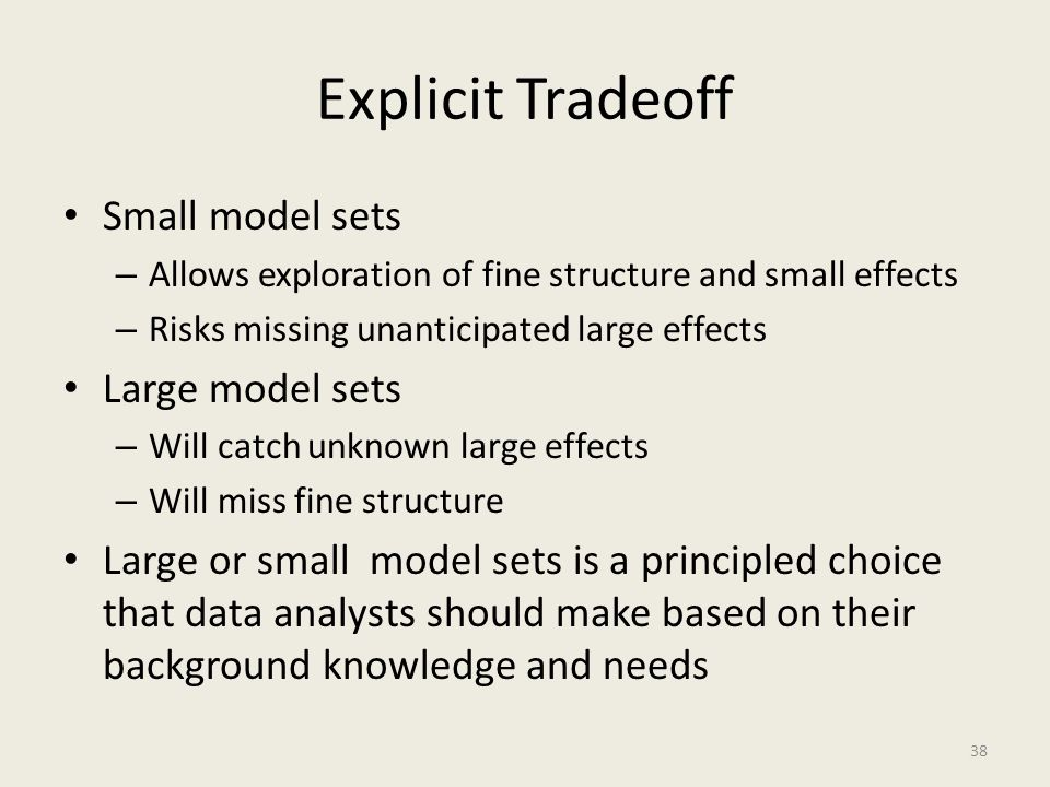 Explicit Tradeoff Small model sets – Allows exploration of fine structure and small effects – Risks missing unanticipated large effects Large model se