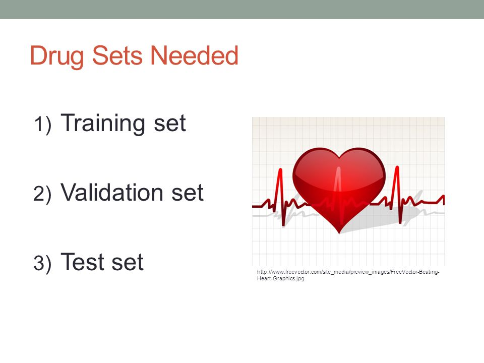 Drug Sets Needed 1) Training set 2) Validation set 3) Test set http://www.freevector.com/site_media/preview_images/FreeVector-Beating- Heart-Graphics.