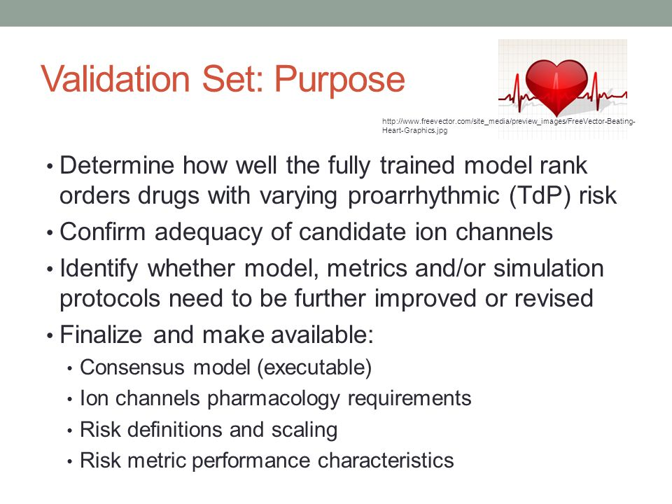 Validation Set: Purpose Determine how well the fully trained model rank orders drugs with varying proarrhythmic (TdP) risk Confirm adequacy of candida