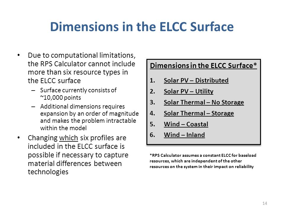 Dimensions in the ELCC Surface Due to computational limitations, the RPS Calculator cannot include more than six resource types in the ELCC surface – Surface currently consists of ~10,000 points – Additional dimensions requires expansion by an order of magnitude and makes the problem intractable within the model Changing which six profiles are included in the ELCC surface is possible if necessary to capture material differences between technologies Dimensions in the ELCC Surface* 1.Solar PV – Distributed 2.Solar PV – Utility 3.Solar Thermal – No Storage 4.Solar Thermal – Storage 5.Wind – Coastal 6.Wind – Inland Dimensions in the ELCC Surface* 1.Solar PV – Distributed 2.Solar PV – Utility 3.Solar Thermal – No Storage 4.Solar Thermal – Storage 5.Wind – Coastal 6.Wind – Inland *RPS Calculator assumes a constant ELCC for baseload resources, which are independent of the other resources on the system in their impact on reliability 14