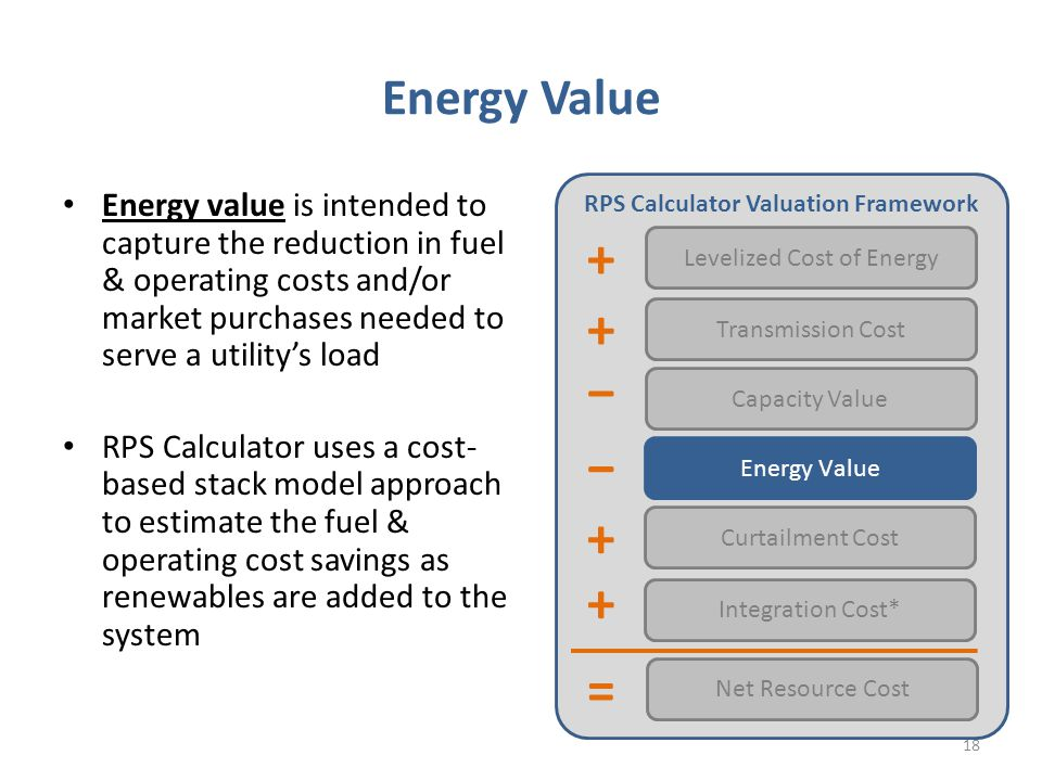 Energy Value Energy value is intended to capture the reduction in fuel & operating costs and/or market purchases needed to serve a utility's load RPS Calculator uses a cost- based stack model approach to estimate the fuel & operating cost savings as renewables are added to the system RPS Calculator Valuation Framework Levelized Cost of Energy Transmission Cost Capacity Value Energy Value Net Resource Cost Integration Cost* − = − + + + Curtailment Cost + 18