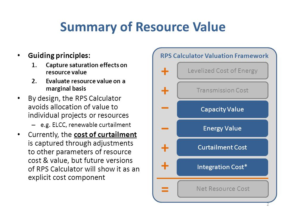 Elements of Resource Valuation Capacity value: reduced costs to procure resource adequacy from existing resources and/or invest in new capacity resources for system reliability Energy value: reduced operating costs from conventional generators, including natural gas purchases, CO2 allowance costs, and O&M costs Curtailment cost: costs associated with renewable energy that cannot be delivered to loads due to saturation, inflexibility, or congestion Integration cost: increased operational inefficiencies due to multi-hour net load ramps and the need to carry additional reserves Reduced losses: reduced electrical system losses due to location of resources relative to load (generally applies to DG) Distribution deferral value: deferred investments in distribution upgrades due to location of resources relative to load (generally applies to DG) 3 DG-specific benefits; RPS Calculator will defer to the DRP proceeding