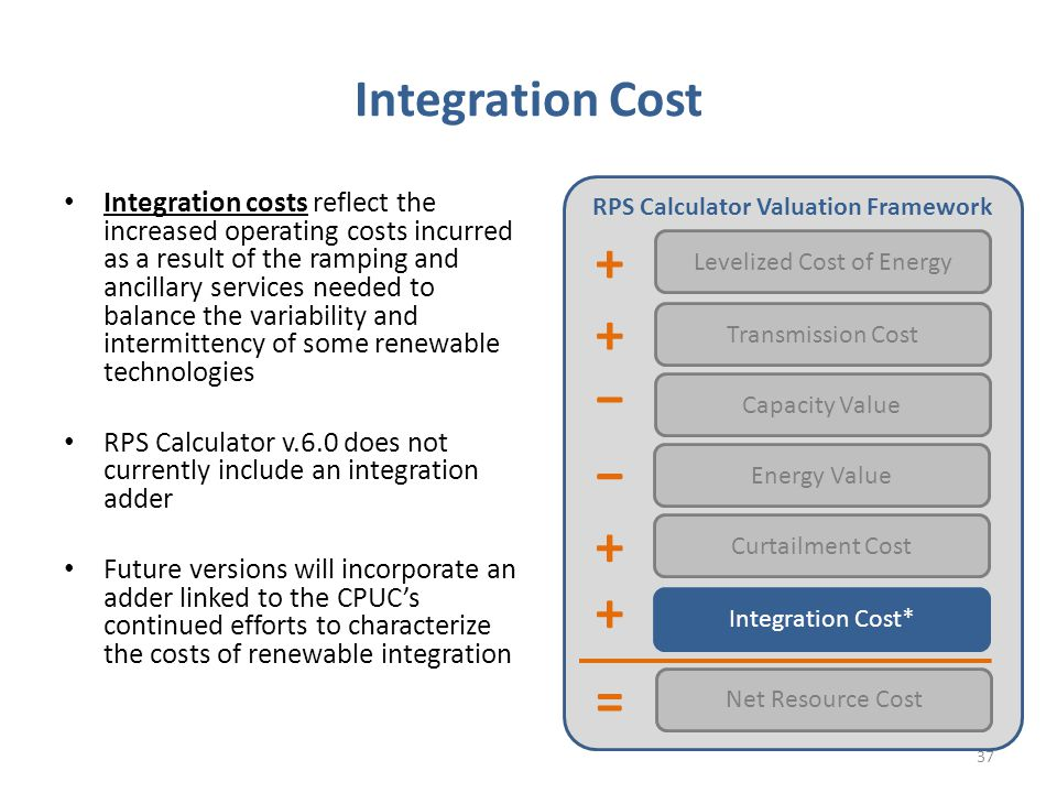 Integration Cost Integration costs reflect the increased operating costs incurred as a result of the ramping and ancillary services needed to balance the variability and intermittency of some renewable technologies RPS Calculator v.6.0 does not currently include an integration adder Future versions will incorporate an adder linked to the CPUC's continued efforts to characterize the costs of renewable integration RPS Calculator Valuation Framework Levelized Cost of Energy Transmission Cost Capacity Value Energy Value Net Resource Cost Integration Cost* − = − + + + Curtailment Cost + 37