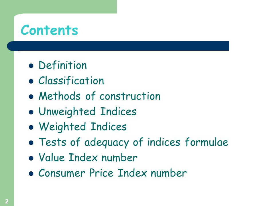 Weighted Indexes (contd.) Fisher's Ideal Index Numbers: Geometric mean of Laspeyre's and Paasche's index numbers is known as Fisher's ideal index number.