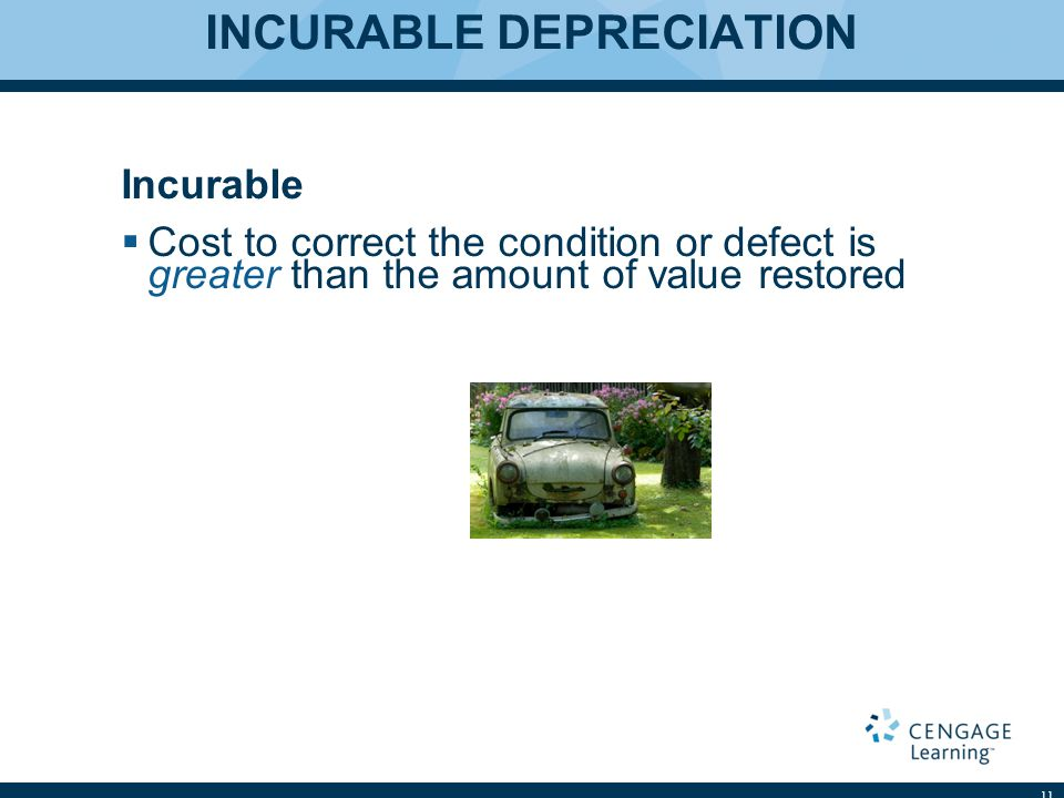 INCURABLE DEPRECIATION Incurable  Cost to correct the condition or defect is greater than the amount of value restored 11