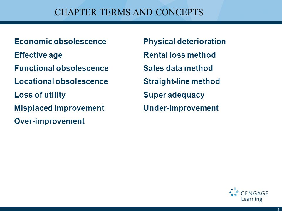 LEARNING OUTCOMES 1.Distinguish the concept of depreciation as it is used in accounting from that used in appraisal.
