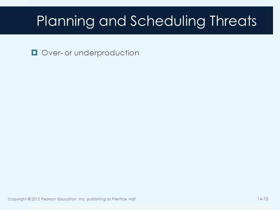 Planning and Scheduling Threats  Over- or underproduction Copyright © 2012 Pearson Education, Inc.