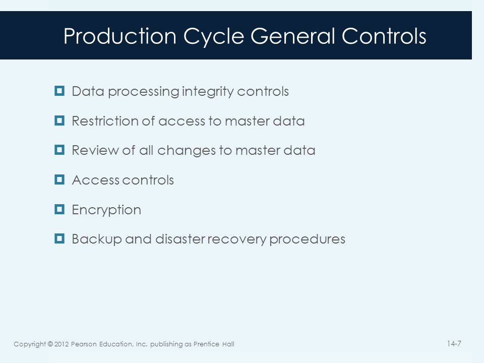 Production Cycle General Controls  Data processing integrity controls  Restriction of access to master data  Review of all changes to master data  Access controls  Encryption  Backup and disaster recovery procedures Copyright © 2012 Pearson Education, Inc.