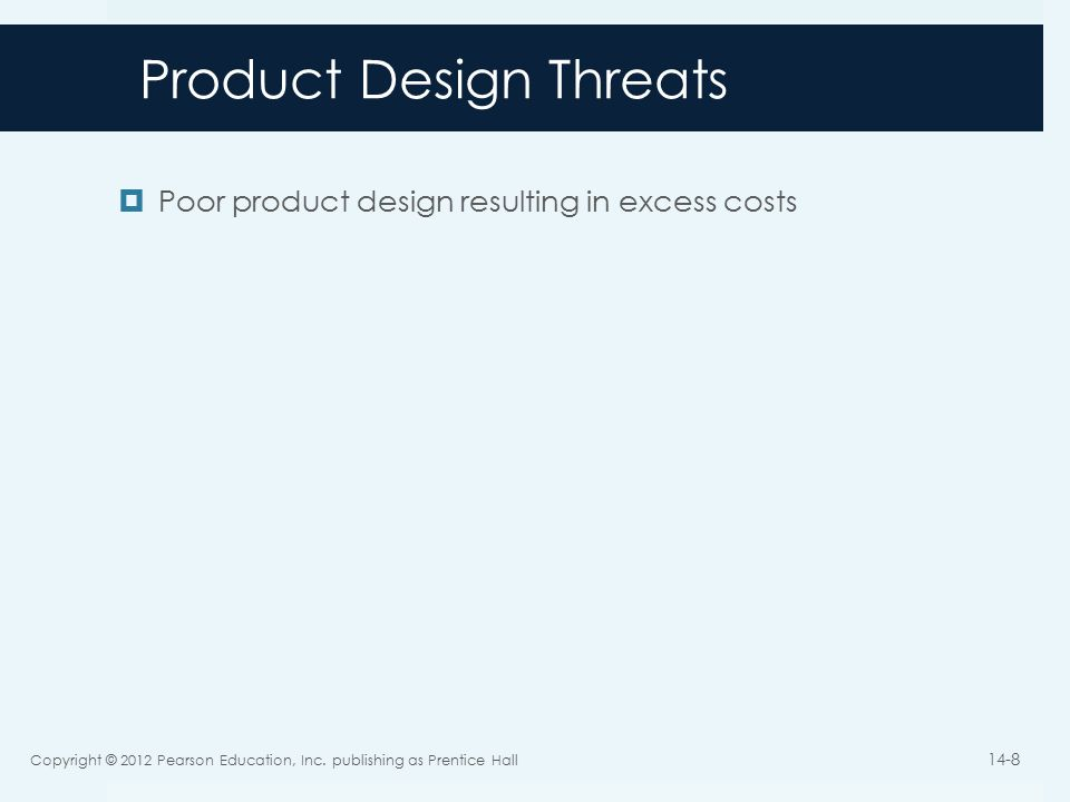 Product Design Threats  Poor product design resulting in excess costs Copyright © 2012 Pearson Education, Inc.