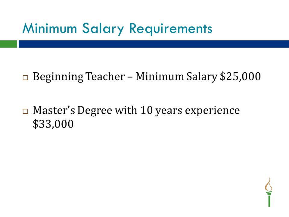 Minimum Salary Requirements  Beginning Teacher – Minimum Salary $25,000  Master's Degree with 10 years experience $33,000