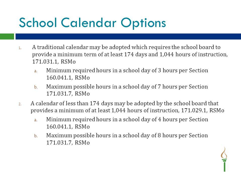 School Calendar Options 1.