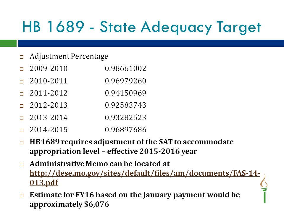 HB 1689 - State Adequacy Target  Adjustment Percentage  2009-20100.98661002  2010-20110.96979260  2011-20120.94150969  2012-20130.92583743  2013