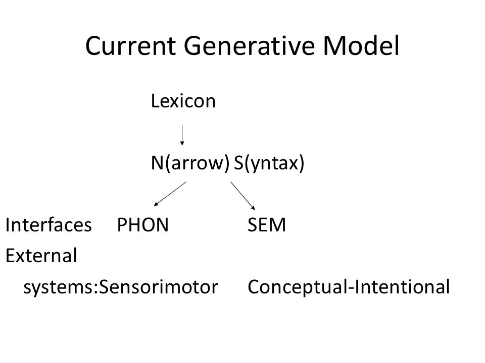 Current Generative Model Lexicon N(arrow) S(yntax) Interfaces PHONSEM External systems:SensorimotorConceptual-Intentional
