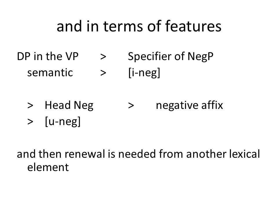 and in terms of features DP in the VP>Specifier of NegP semantic>[i-neg] >Head Neg>negative affix >[u-neg] and then renewal is needed from another lexical element