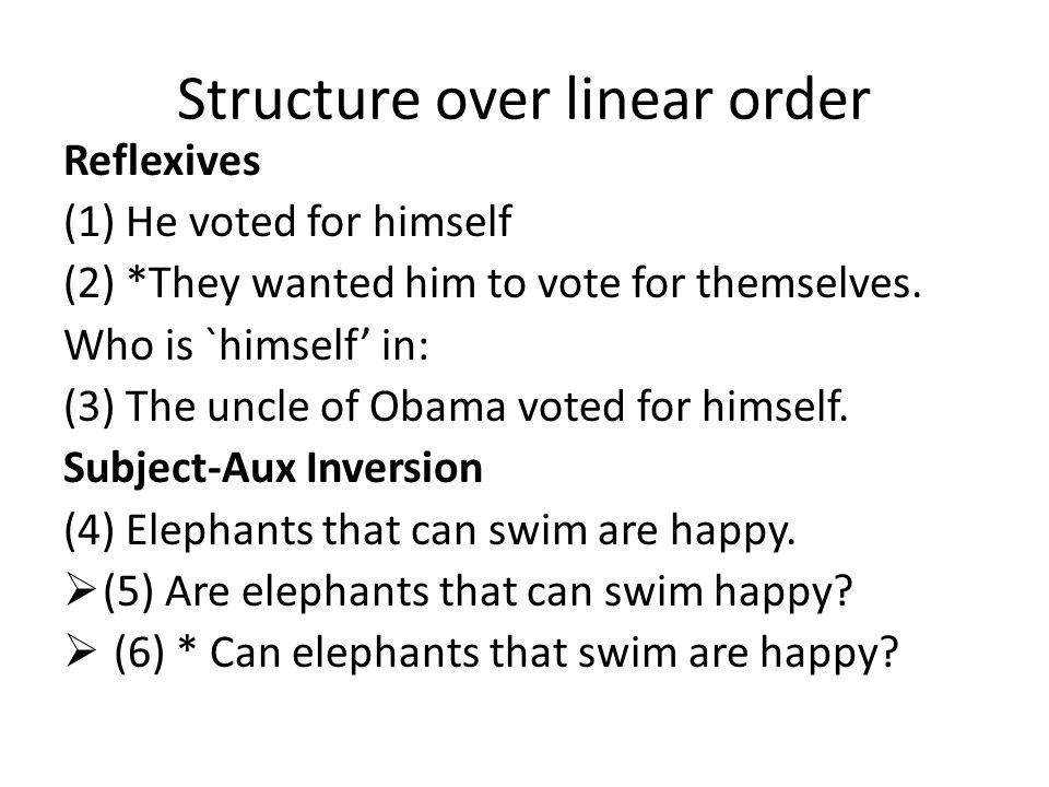 Structure over linear order Reflexives (1) He voted for himself (2) *They wanted him to vote for themselves.
