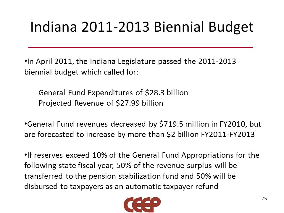 Indiana 2011-2013 Biennial Budget 25 In April 2011, the Indiana Legislature passed the 2011-2013 biennial budget which called for: General Fund Expenditures of $28.3 billion Projected Revenue of $27.99 billion General Fund revenues decreased by $719.5 million in FY2010, but are forecasted to increase by more than $2 billion FY2011-FY2013 If reserves exceed 10% of the General Fund Appropriations for the following state fiscal year, 50% of the revenue surplus will be transferred to the pension stabilization fund and 50% will be disbursed to taxpayers as an automatic taxpayer refund