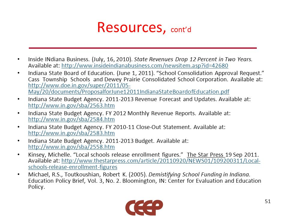 Resources, cont'd Inside INdiana Business. (July, 16, 2010).