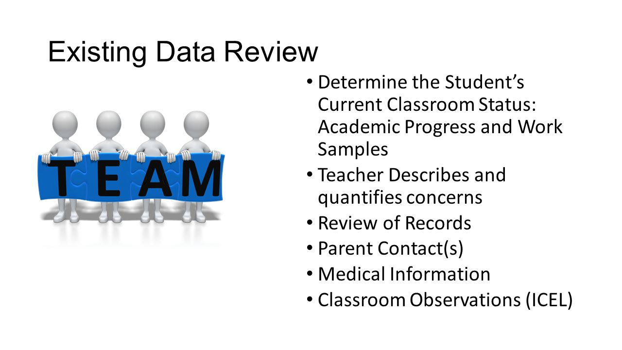 Determine Student Functional Levels Identify assets and weaknesses Identify Critical Life Events, Milestones, Circumstances (Positive and Negative) Identify medical and/or physiological sources of concern Identify academic variables such as speed of acquisition or retention of information Identify issues of attendance, transitions, motivation, access to instruction