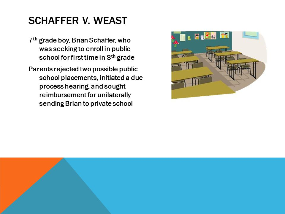 SCHAFFER V. WEAST 7 th grade boy, Brian Schaffer, who was seeking to enroll in public school for first time in 8 th grade Parents rejected two possibl