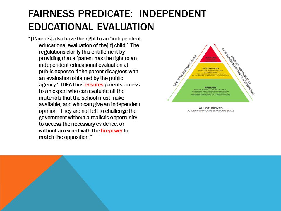 "FAIRNESS PREDICATE: INDEPENDENT EDUCATIONAL EVALUATION ""[Parents] also have the right to an 'independent educational evaluation of the[ir] child.' The"