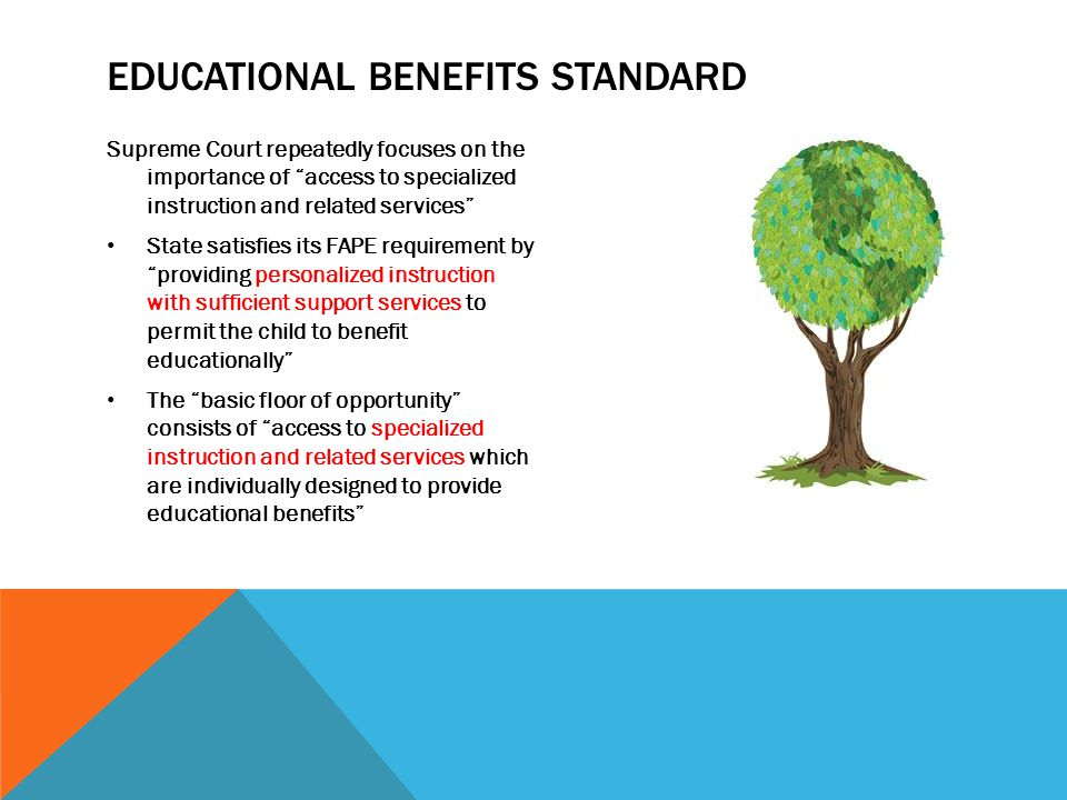 "EDUCATIONAL BENEFITS STANDARD Supreme Court repeatedly focuses on the importance of ""access to specialized instruction and related services"" State sat"