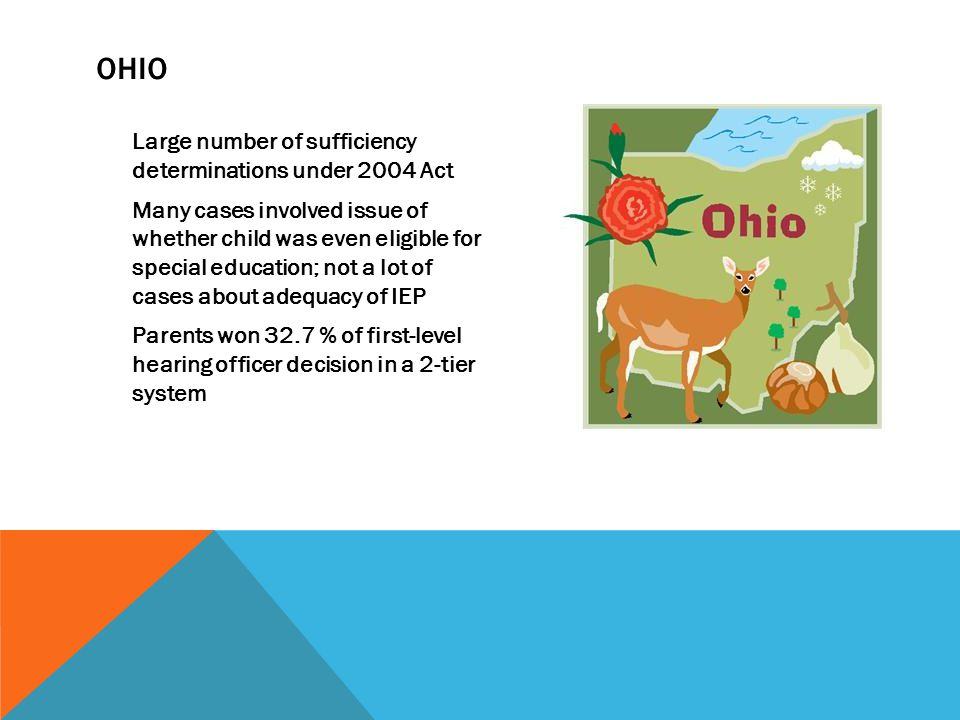 OHIO Large number of sufficiency determinations under 2004 Act Many cases involved issue of whether child was even eligible for special education; not