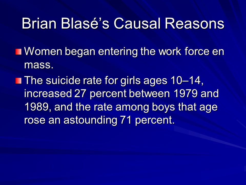 Brian Blasé's Causal Reasons Women began entering the work force en mass.