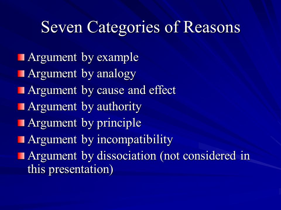 Seven Categories of Reasons Argument by example Argument by analogy Argument by cause and effect Argument by authority Argument by principle Argument by incompatibility Argument by dissociation (not considered in this presentation)