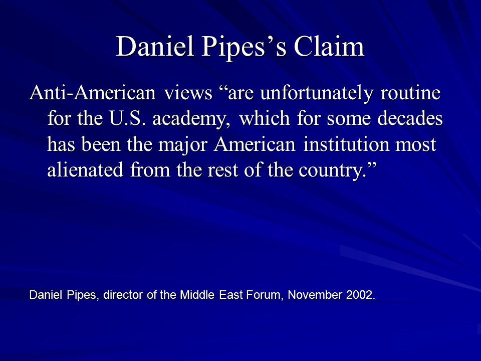 Daniel Pipes's Reasons Noam Chomsky, professor of linguistics at MIT and far-left luminary, insists that President Bush and his advisers oppose Saddam...